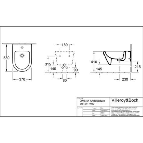 bidet zeichnung villeroy boch bidet omnia architectura 36 5x53 cm