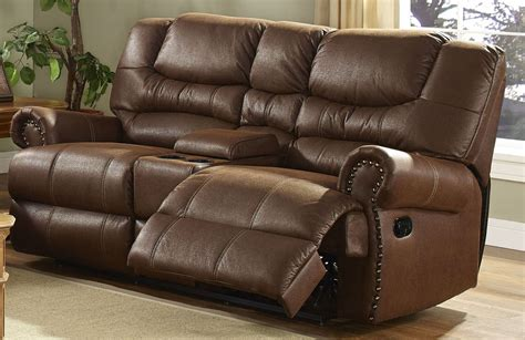 Dual Reclining Sofa With Console Laredo Cordova Mocha Dual Recliner Loveseat With Console From New Classics 20 395 25 Moc