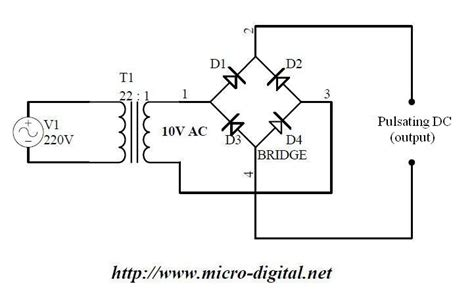 schematic of diode bridge wave bridge rectifier supply micro digital