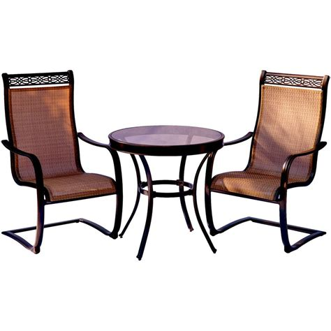Aluminum Bistro Chairs Hanover Monaco 3 Aluminum Outdoor Bistro Set With Glass Top Table With Contoured
