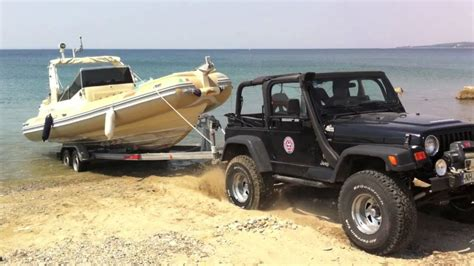 tow boat jeep wrangler wrangler tj towing youtube
