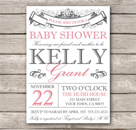 bridal shower invitation or baby shower invitation by