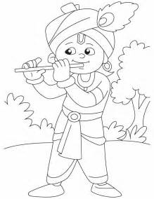 Outline Pictures Of God Krishna by Krishna With His Magical Flute Coloring Pages Free Krishna With His Magical Flute