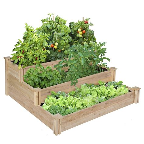 planter beds tiered cedar raised garden bed home design garden