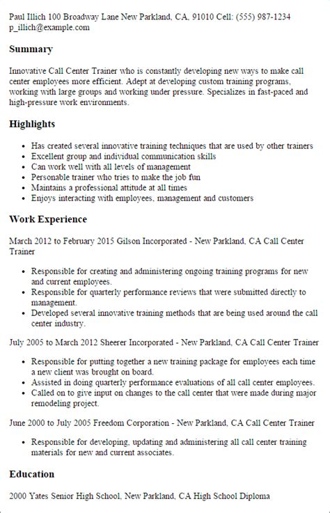 Call Center Floor Manager Sle Resume by Professional Call Center Trainer Templates To Showcase Your Talent Myperfectresume