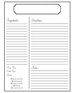 recipe card template deer home for the home template recipes and