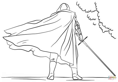 Kylo Ren With Lightsaber Coloring Page Free Printable Lightsaber Coloring Pages