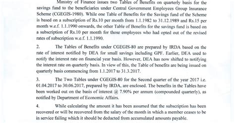 cgegis table 2015 tables of benefits for the savings all india postal employees union gds nfpe cgegis