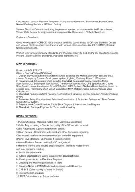 senior electrical engineer resume