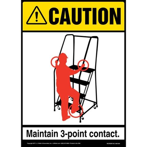 3 mobile contact caution 3 point contact mobile ladder stand ansi sign
