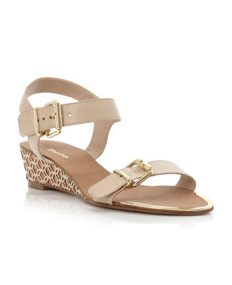 Sendal Wedges Lasser dune geesha laser low wedge sandals in brown lyst