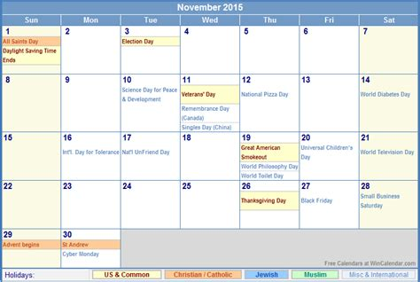 printable calendar november 2015 with holidays november 2015 calendar with holidays for printing picture