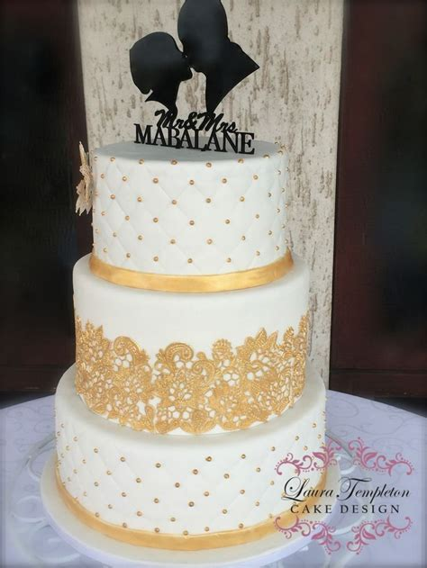 White Gold Wedding by White Gold Wedding Cake 3 Tier Gold Cake Lace Gold