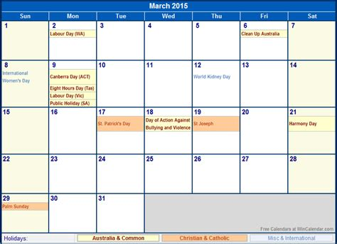 printable calendar 2015 for march march 2015 australia calendar with holidays for printing