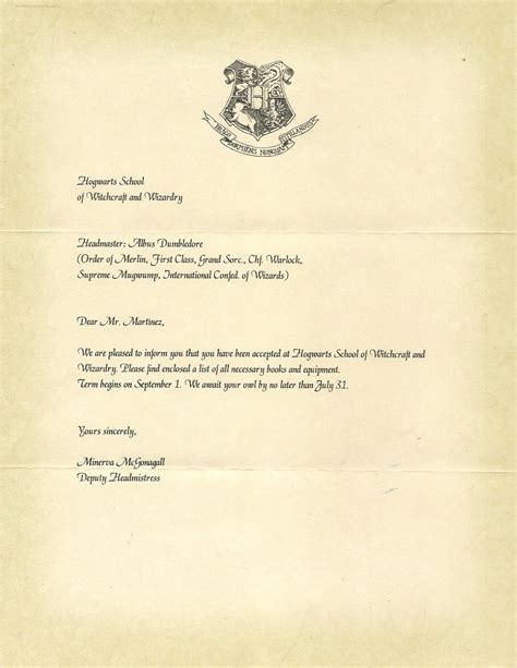 Personalized Hogwarts Acceptance Letter Hogwarts Acceptance Letter Bbq Grill Recipes