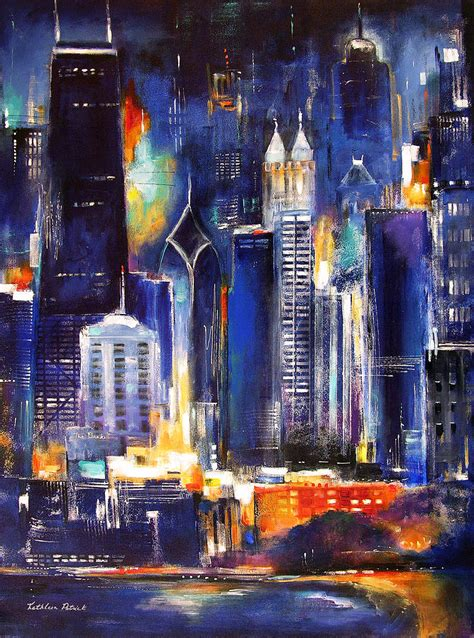 paint nite chicago chicago skyline at painting by