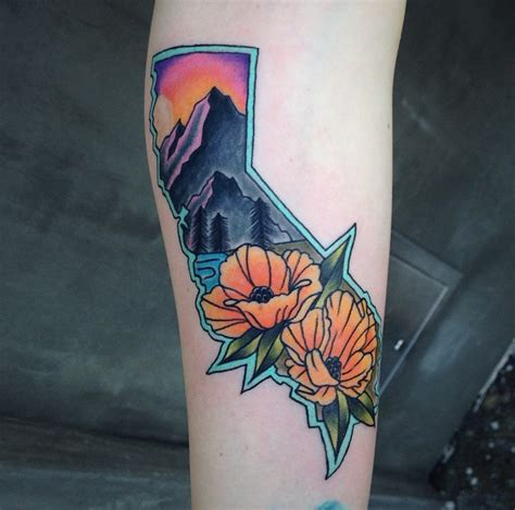 traditional mountain tattoo california outline traditional poppies mountains by