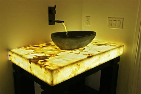Unusual Mirrors For Living Rooms by Backlit Onyx Countertop Contemporary Bathroom Denver