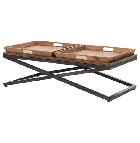 Jaxon Double Tray Top Wood Iron Industrial Rectangle Wooden Tray For Coffee Table