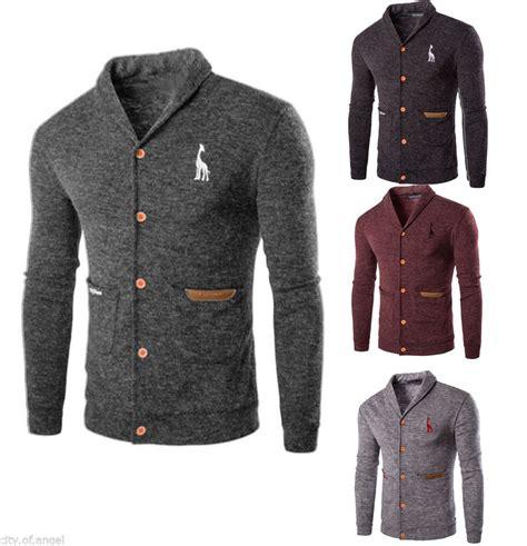 Preloved Cardigan Blazer Biru Fashion fashion mens knitted sweater cardigan casual slim fit knitwear coat jacket tops ebay