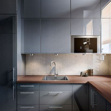 Grey Gloss Kitchen Cabinets by Faktum Kitchen With Abstrakt Grey High Gloss Doors Drawers