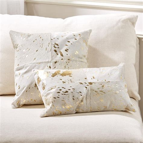 home decorative pillows global bazaar gold ivory cowhide decorative pillows set