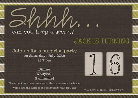 Make Your Own Surprise Birthday Party Invitations Modern Templates Invitations Templates Print Your Own Invitation Templates