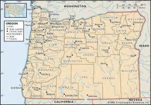 state map of showing cities oregon map free large images
