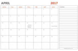 April Calendar Template by Editable April 2017 Calendar Template Ms Word