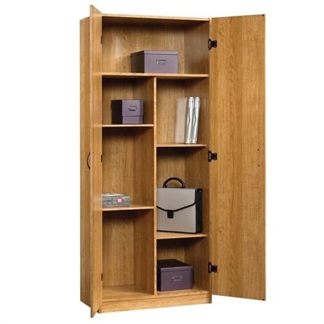 Sauder Beginnings Storage Cabinet In Highland Oak 413326 Storage Kitchen Cabinets