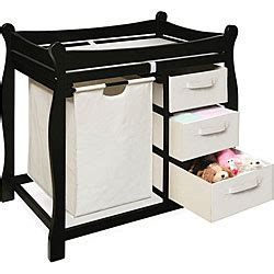 Black Changing Table With Her And Three Baskets Overstock Changing Table