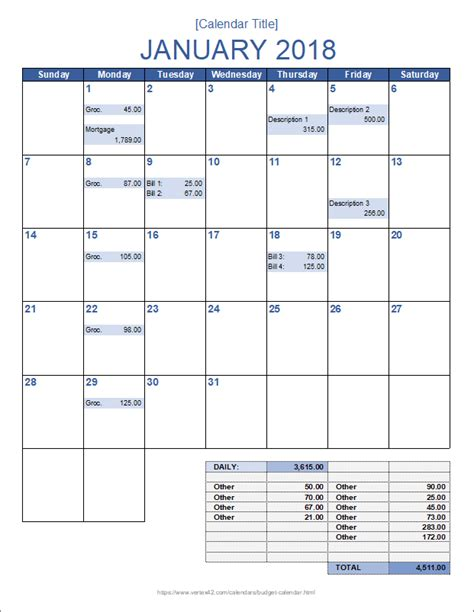 monthly calendar template monthly budget calendar template