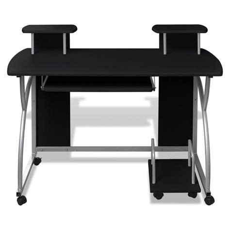 roll out computer desk vidaxl co uk mobile computer desk pull out tray black