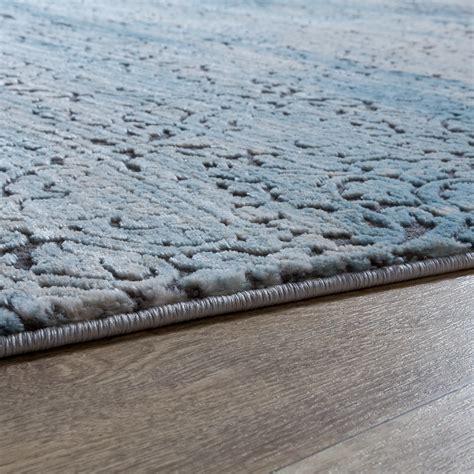 grau blau teppich teppich wohnzimmer florale ornament muster kurzflor