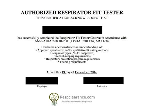 respirator fit test card template respclearance respirator evaluation and fit