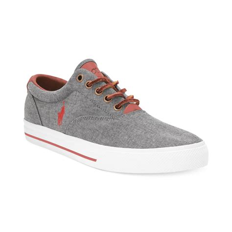 polo shoes polo ralph vaughn lace sneakers in gray for