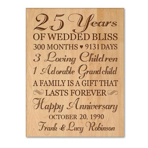 25th Wedding Anniversary Gift For A by Personalized 25th Anniversary Gift For Him 25th Wedding