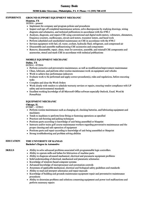 equipment mechanic resume sles velvet