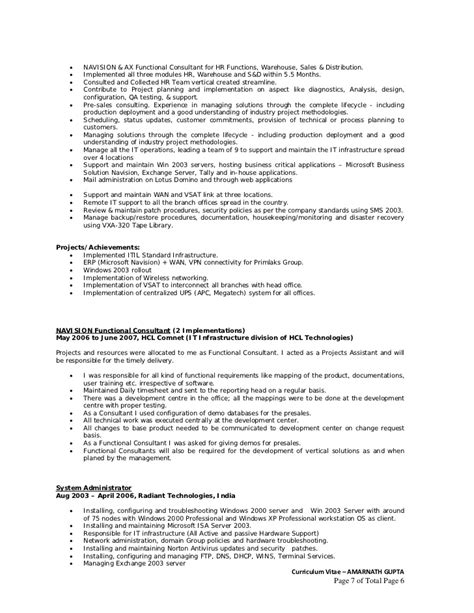 Dynamics Ax Consultant Sle Resume by Curriculum Vitae Amarnath Gupta Programme Manager With 6 5 Yrs Ex