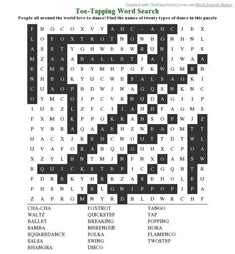 swing around crossword dance word search