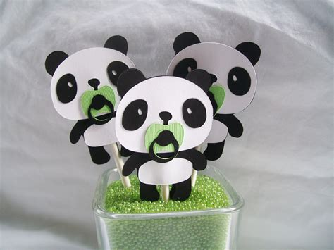 Panda Decorations panda cupcake toppers baby shower by nancysbannerboutique