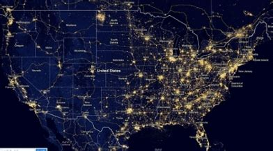us map at with lights light pollution