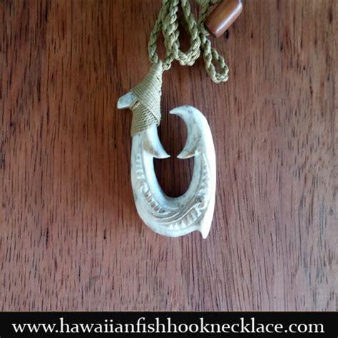 fossil whale bone makau hawaiian fish hook necklace