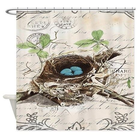 vintage bird nest french botanical art Shower Curt by