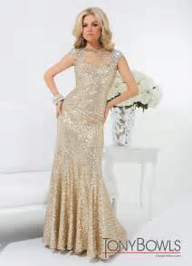Tony bowls gold 2014 sequin high neck sheer beaded prom gown 114539