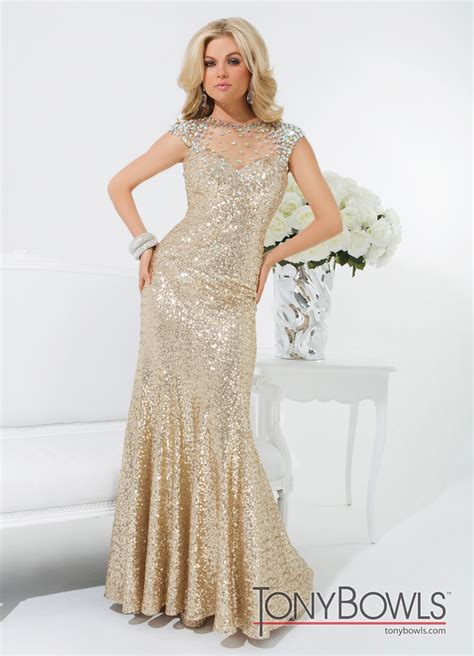 gold beaded prom dress tony bowls gold 2014 sequin high neck sheer beaded prom