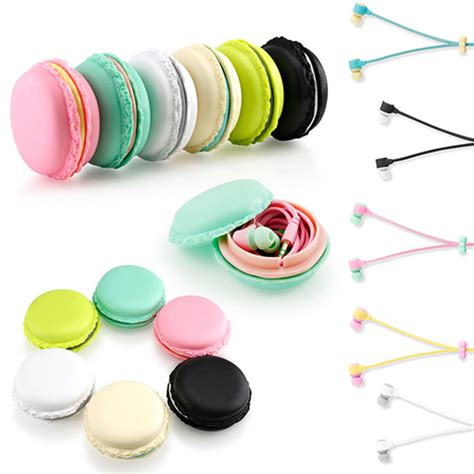 Headset Karakter Macarons 6 macarons shape 3 5mm earbud earphone headset bellechic