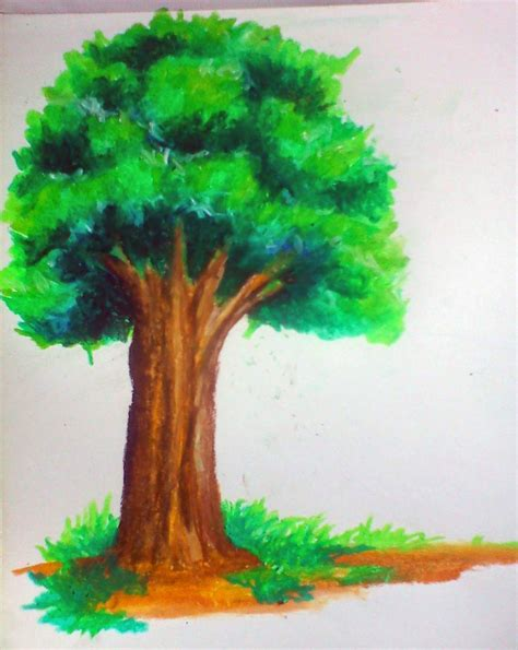dinsnusantara membuat pohon dengan crayon menggunakan teknik gradasi overlay dan shading untuk