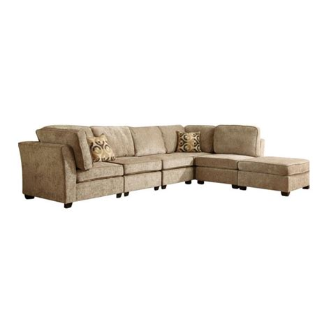 burke sectional trent home burke 6 piece sectional in brown beige chenille