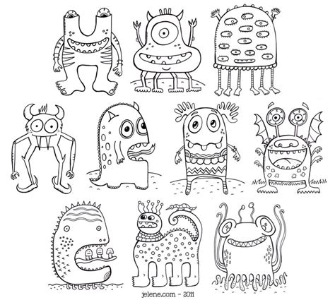 Monster Coloring Pages Pdf | pdf printable crazy monsters coloring book via etsy